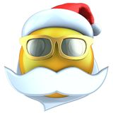 3d yellow emoticon smile with christmas hat Royalty Free Stock Photo