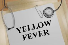 YELLOW FEVER concept. 3D illustration of YELLOW FEVER title on a medical document Stock Image