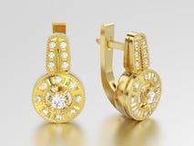 3D illustration yellow gold decorative diamond earrings with hin Stock Photos