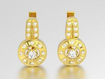 3D illustration yellow gold decorative diamond earrings with hin Royalty Free Stock Photography