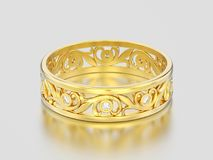 3D illustration yellow gold decorative wedding bands carved out. Diamond ring with ornament on a gray background Royalty Free Stock Image