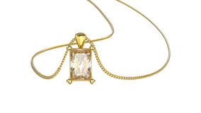 3D illustration  yellow gold diamond necklace on chain Stock Photography