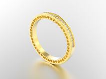3D illustration yellow gold eternity band ring with diamonds   Stock Photography