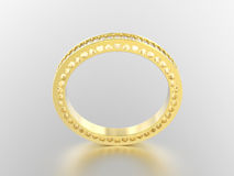 3D illustration yellow gold eternity band ring with diamonds   Stock Images
