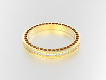 3D illustration yellow gold eternity band ring with diamonds and Stock Image