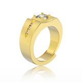 3D illustration yellow gold men diamond ring with reflection Royalty Free Stock Photography