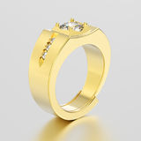 3D illustration yellow gold men signet diamond ring with reflect Stock Image