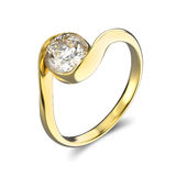 3D illustration yellow gold ring bypass with diamond Stock Images