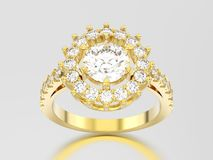 3D illustration yellow gold solitaire decorative diamond ring wi Stock Images