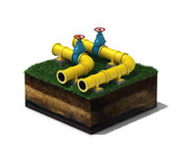 3d illustration of yellow pipeline with blue valves on section of land, isolated on white background Stock Image