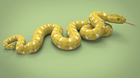 3d illustration of yellow snake. Royalty Free Stock Photography