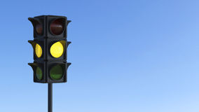 3D illustration yellow traffic light Stock Photo
