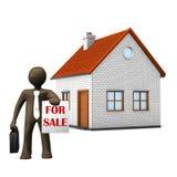 3D Illustration, Zeichentrickfilm-Figur, Immobilienmakler Lizenzfreies Stockfoto
