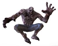 3D Illustration Zombie Monster. Isolated On White Stock Images