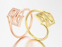 3D Illustration zwei färben sich und die rosafarbene dekorative Goldverpflichtung gelb Lizenzfreie Stockbilder