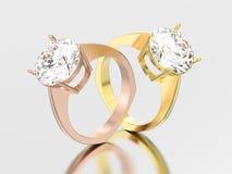 3D Illustration zwei färben sich und Euroart r der rosafarbenen Goldverpflichtung gelb Stockfoto