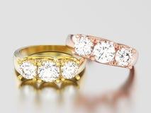 3D Illustration zwei färben sich und rosafarbene Steindiamant Rin des Gold drei gelb Stockbild