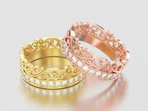 3D Illustration zwei färben sich und rosafarbenes Golddekoratives Kronendiadem gelb Stockbild