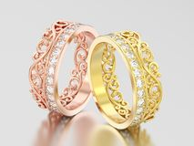 3D Illustration zwei färben sich und rosafarbenes Golddekoratives Kronendiadem gelb Stockfotografie