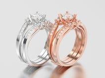 3D Illustration zwei rosafarben und Weißgold oder Silber zwei Schäfte Dezember Lizenzfreies Stockbild
