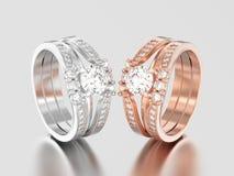 3D Illustration zwei rosafarben und Weißgold oder Silber zwei Schäfte Dezember Stockfotografie
