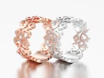 3D Illustration zwei rosafarbene und Weißgold oder silberne dekorative Kanaille lizenzfreie abbildung