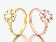 3D Illustration zwei rosafarbenes und gelbes Goldhalohochzeits-Diamant ri lizenzfreie abbildung