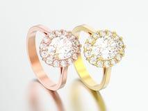 3D Illustration zwei rosafarbenes und gelbes Goldovales Halodiamant engag lizenzfreie abbildung