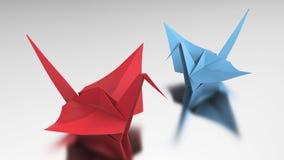 3D Illustration zwei roter und blauer Origamivogel Lizenzfreies Stockfoto