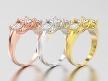3D illustrationen tre gulnar, för rosa och vit guld eller silverth Royaltyfri Fotografi