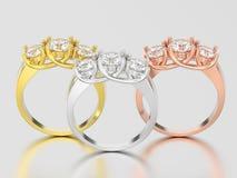 3D illustrationen tre gulnar, rosa, och vit guld tre stenar di Royaltyfri Bild