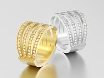 3D illustrationrose two gold and silver four shanks diamond ring Stock Photo