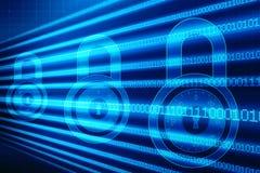 2d illustrationsäkerhetsbegrepp: Stängd hänglås på digital bakgrund, internetsäkerhetsbakgrund vektor illustrationer