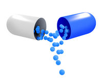 3D illustrations of little medical pills and capsule  Royalty Free Stock Photo