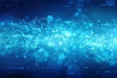 2d Illustrationsweltkarte-Zusammenfassungshintergrund, globaler Kommunikationsnetz-Hintergrund vektor abbildung