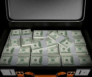 3d illustraton. Suitcase full of money.  Royalty Free Stock Images