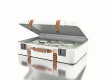 3d illustraton. Suitcase full of money. 3d illustration. Suitcase full of money. Isolated white background Royalty Free Stock Images