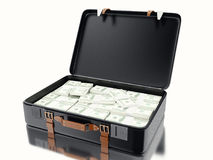3d illustraton. Suitcase full of money. Isolated white background Royalty Free Stock Photography