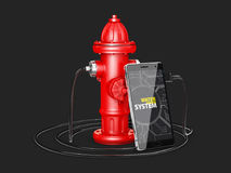 3d Illustrator of hydraulic systems supply water, app for phone Royalty Free Stock Image