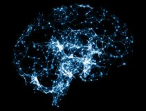 3D illustrazione - illustrazione del cervello per punteggiare linea Immagini Stock Libere da Diritti