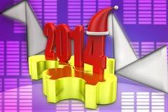 3d illustrazione di puzzle di natale 2014 Fotografia Stock