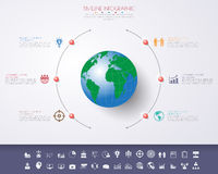 3D illustrazione digitale astratta Infographic con la mappa di mondo Fotografia Stock Libera da Diritti