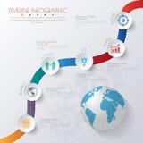 3D illustrazione digitale astratta Infographic con la mappa di mondo latta Fotografie Stock Libere da Diritti
