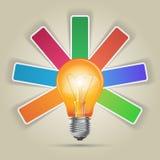 3D illustrazione digitale astratta Infographic Icona della lampadina Immagine Stock Libera da Diritti