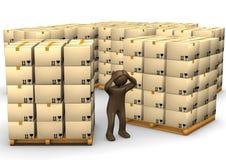 3D illustrazione, figurina marrone disperata, pacchetti sui pallet, Fotografia Stock Libera da Diritti