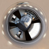 3d illustrazione, panorama 360 dell'interno della camera da letto Fotografia Stock