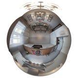 3d illustrazione, panorama 360 dell'interno della camera da letto Fotografia Stock Libera da Diritti