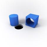 3D illustrerad blåttfyrkant Peg Cylinder och ett runt hål på en ljus vit bakgrund Arkivfoto