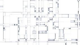 3D illustrerade bakgrund av ljusa vita livliga geometriska former arkivfilmer