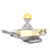 3D illustrerade byggnadsarbetaren sitter i maskin Arkivbild